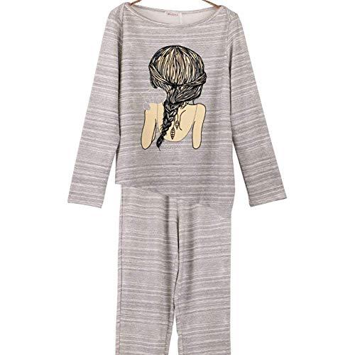 Dormir Primavera Camison Manga Mujer De El B Largo Larga Otoño Para Redondo Impreso Basic Hogar Elegante Cuello Fashion Pantalones Pijama Ropa Conjunto Pijamas xqgwITqR
