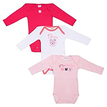 Absorba Body Bébé Fille - Lot DE 3 Body Bébé Fille Rose (Dragée) 18-24 Mois (Taille Fabricant: 18M) - Lot de 3 Absorba Underwear 6L60146-RA