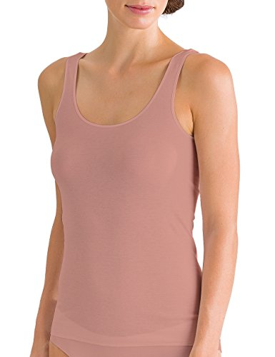HANRO Women's Cotton Seamless Tank Top, Soft Almond, Medium (Camisole Cotton Hanro)