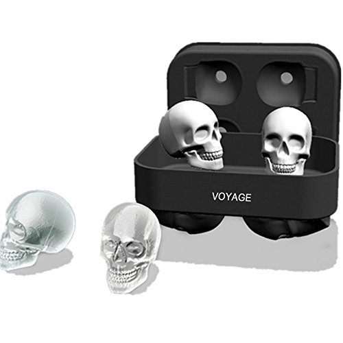 3D Skull Silicone Ice Cube Tray Mold, Makes Four Giant Skulls, Ice Cube Maker in Shapes for Whiskey Ice and Cocktails, (Skull Shapes)