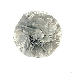 "Artificial Flowers Rose Kissing Ball SILVER Silk Flowers, Wedding Arrangements Artificial Poms Party Decorations 5 "" 56"