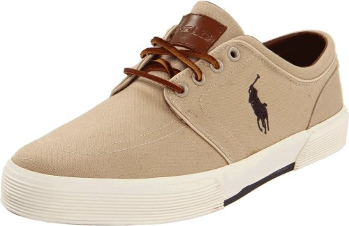 Polo Ralph Lauren Men's Faxon Low Sneaker, Khaki Canvas, 9.5 D US (Sneaker Beige Suede Shoes)