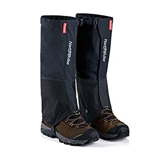 Outdoor Hiking Snow Leg Gaiters for Men Women - Naturehike, Waterproof Lightweight Breathable Compact Shoes Boots Cover for Research Skiing Snowboarding Walking Climbing Hunting Jogging (Black - L)