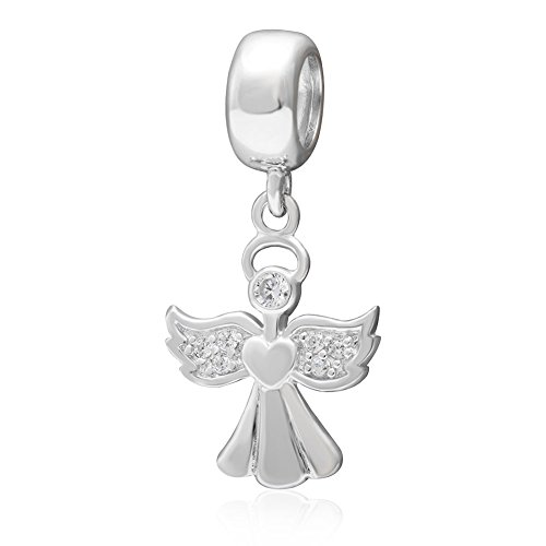 (Angel Charm 925 Sterling Silver Heart Charm Valentine Charm Pendant Charm for Pandora Bracelet (Angel))