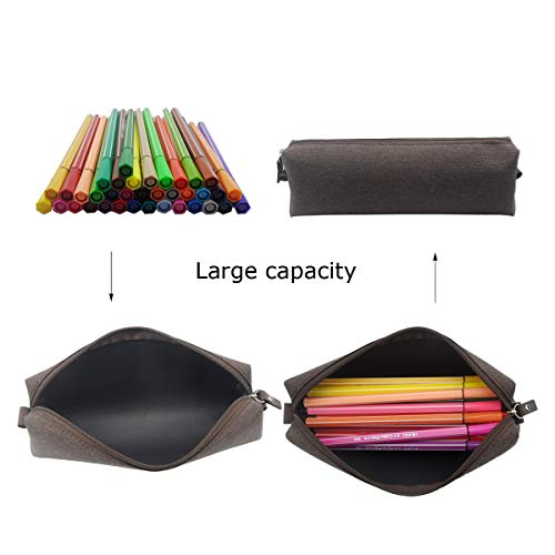 Enyuwlcm Fabric Stationery Stylish Simple Pencil Bag Small Square Waterproof Pencil Case Black and Gray 2 Pack