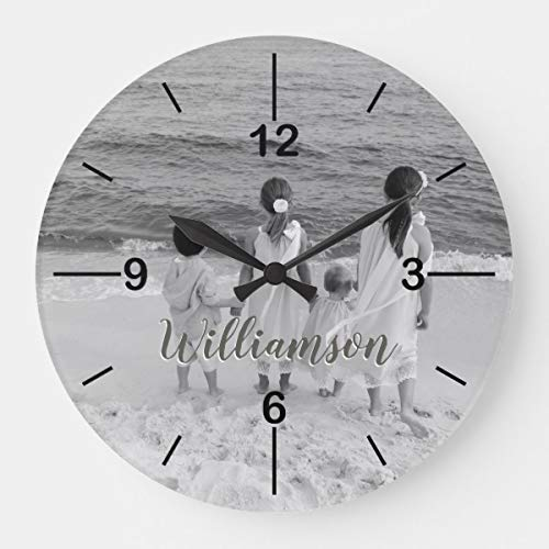 (OSWALDO Personalized Photo Clock Customized with Name Decorative Round Wooden Wall Clock - 12 inch)