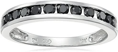 Amazon Collection 10k Gold Channel-Set Black Diamond Ring (1/2 cttw) 7 Size