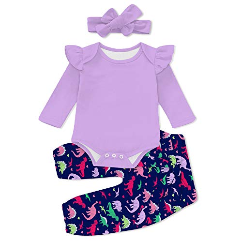 UNICOMIDEA Oddler Baby Girls Sister 3pcs Outfit Ruffle Romper Bodysuit 3D Printed Flower Dinosaur Pans and Solid Purple Button Top with Headband Quickly Dry and Breathable Home Outfit 1-2 Years Old