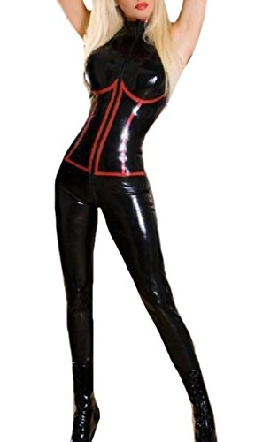 Leather Overalls Costume (Zimaes Women's PU Leather Smooth Overall Shaping Costumes Apparel Black XL)