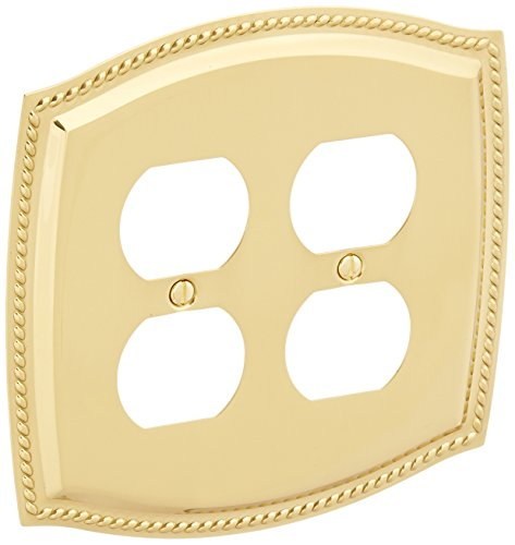 Baldwin 4794030 Double Outlet Rope Switch Plate, Bright Brass - Baldwin Rope Outlet