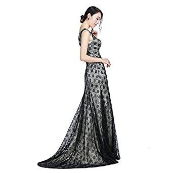 Mermaid Tail Black Lace Formal Long Prom Vneckline Elegant Long Evening Dresses