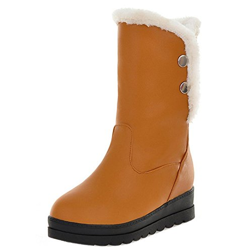 RAZAMAZA Women Boots Pull On Hidden Heel Yellow G86d9