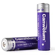 Canwelum Protected 18650 Li-ion Battery, 18650 Rechargeable Battery 3.7V, 18650 Lithium Ion Battery - Applicable for Cree LED Flashlights, Headlamps or Laser Pointers, Not for Electronic Cigarettes (2 x 18650 Batteries)