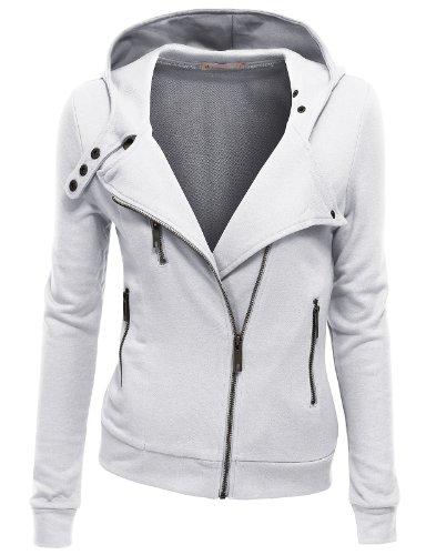 Doublju Women Slim Fit Fleece Zip-up Hoodie Jacket with Zipper Point