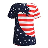 Fashion Tops for Women Stripe America Flag Printed O-Neck Short Sleeve Casual Blouse (XXL, Red)