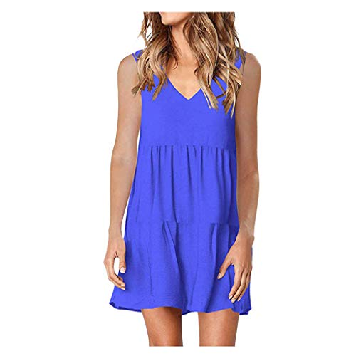 Lutos Women's Casual Plain Flounce V-Neck Tank Tops Daily Sleeveless Dress Blue