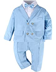 Christening Outfit for Baby Boys One Piece Romper wtih Bow Tie