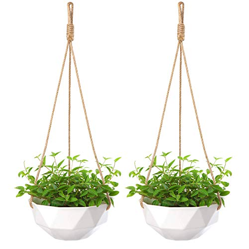 Mkono 2 Pack Ceramic Hanging Planter Modern Geometric Flower Plant Pot 8 Inch Porcelain Hanging Basket with Jute Rope Hanger for Indoor Outdoor Herbs Ivy Crawling Plants, White ()