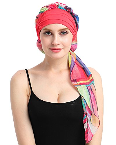 Hat Scarf Wrap - Soft Pre-tied Cancer Scarves Long HeadWraps Bandana Tichel For Chemo Patients