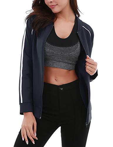 FISOUL Womens Lightweight Running Sport Jacket Slim Fit Full Zip Workout Track Jacket with Zipper Pockets