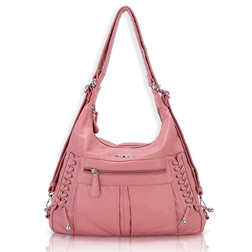 Angel Barcelo Women Multifunctional Soft Leather Handbag Purses Shoulder Hobo Backpack Crossbody Zipper Bag with Pocket Pink