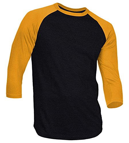DREAM USA Men's Casual 3/4 Sleeve Baseball Tshirt Raglan Jersey Shirt Black/Gold Large