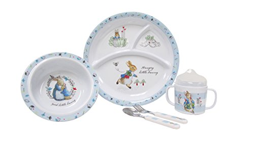 (Beatrix Potter Peter Rabbit 5 Piece Melamine Dinnerware Set)
