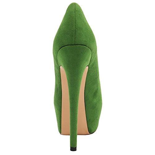 EKS Damen Sexy Stilett Absatz Plattform Pumpen Schuhe Grün-Wildleder