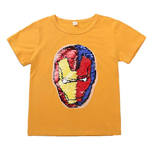 Sports Lee Pullover - Iron Man Magic Sparkle Sports T-Shirt Cotton Pullover for Boys and Girls (3-14 Years Old) (150(10-12 Years Old), GANG023)