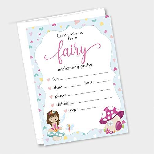 12ct Fairy & Pixie Birthday Party Invitations, Envelopes Included 5x7 (INVT-675-1)