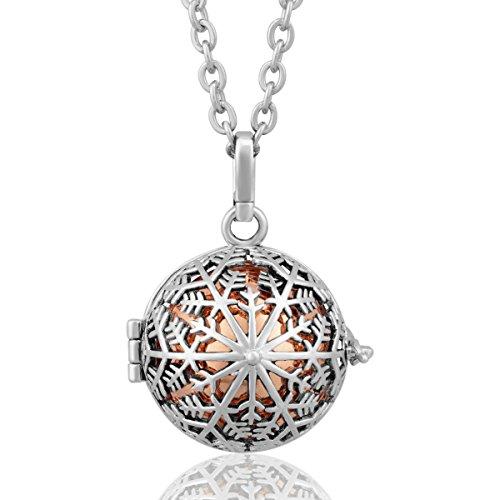 EUDORA Harmony bola Snow Flower Mother's Day Gift Musical Chime Ball Pendant Pragnancy Necklace-Rose Gold (Locket Prayer Angel)