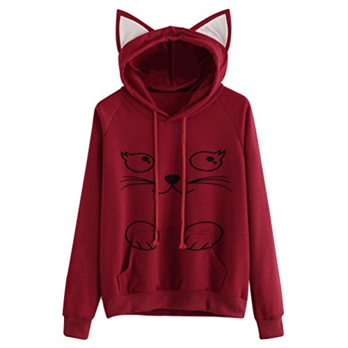 FORUU Women Christmas Cat Print Long Sleeve Velvet Hoodie Sweatshirt Hooded Pullover Newest Blouse Tops (Red-182, XL) for $<!--$7.99-->
