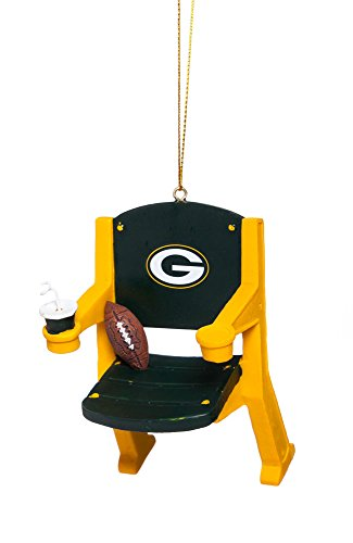 Team Sports America NFL Green Bay Packers Football Stadium Chair Christmas Ornament, Small, - Ornaments Nfl