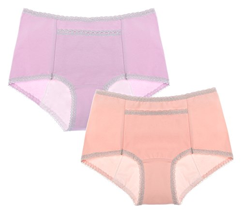 Intimate Portal Women Secret Agent Leak Proof Incontinence Menstrual Underwear 2-Pk Pink Light Purple M