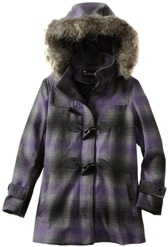 Fur Trimmed Toggle - Rothschild Girls Toggle Front Fur Trim Hood Wool Look Coat - Lavender Grey (Size 5/6)