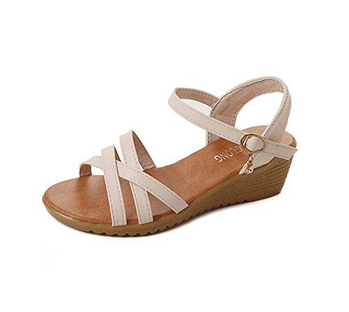 con Sra Corea de Wild 1 Peep Bohemia KUKI planos zapatos Beach BEdwn4q