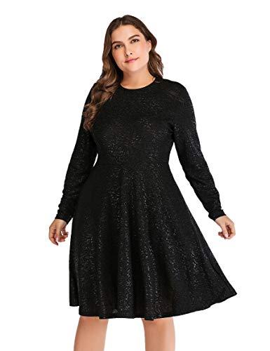 OEUVRE Women's A-line Tunic Swing Stretch Empire Waist Metallic Flare Black Dress M ()