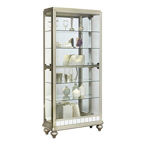 Sofaweb.com Silver Wood Mirror Curio Side Door Entry Curio Cabinet by Sofaweb.com