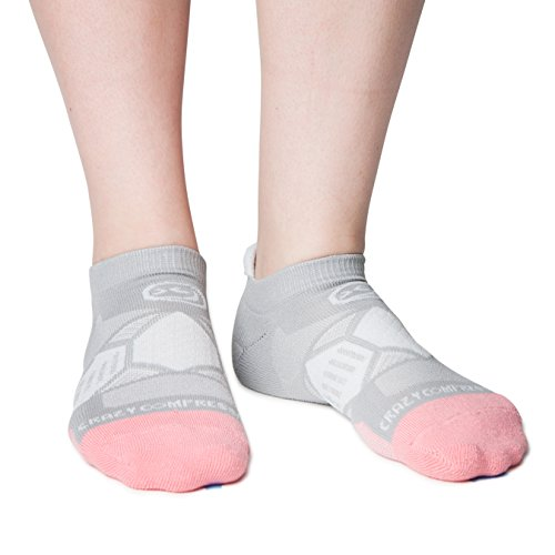Crazy Compression Runners - Elite Compression Running Socks (Gray & Peach, - True Crazy But