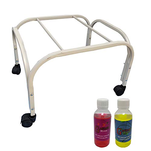 MESH PLANET Powder Coated_ Rust Proof_ Movable_ Air Cooler Iron Trolley Stand_ WHITE Color_With 2 Air Cooler perfumes MPCTS5