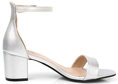 AgeeMi Shoes Mujer Tacón Medio Hebilla Puntera Abierta Sandalias de Vestir Plateado