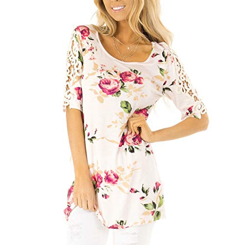(DONTAL Hawaiian Shirt Women Short Sleeve Flowers Print Lace Tee Casual Floral T-Shirt Tops Hot Pink)