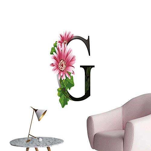 Letter G Canvas Wall Art Alphabet Letter with Blossoming Gerbera Flower and G Spring Inspired Font bar Cafe Poster Pink Green Black W16 x -