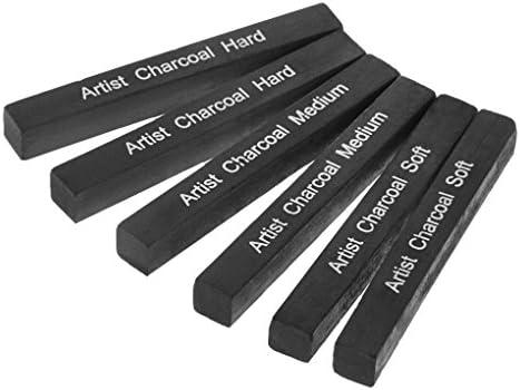 Jumbo Compressed Charcoal Sticks Set Soft Medium Hard Assorted Charcoal Pens Artist Students Drawing Blending Shading Sketching Charcoal Pencils Art Supplies 0.4 x 3 6 Pack Black