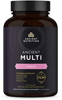 Ancient Nutrition, Ancient Multi Women's - 21 Vitamins & Minerals, Adaptogenic Herbs, Methylated Folate, Paleo & Keto Friendly, 90 Capsules