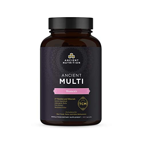 Ancient Multi Women's – 21 Multi Vitamin & Immune Support, Adaptogenic Herbs, Methylated Folate, Paleo & Keto Friendly, 90 Capsules