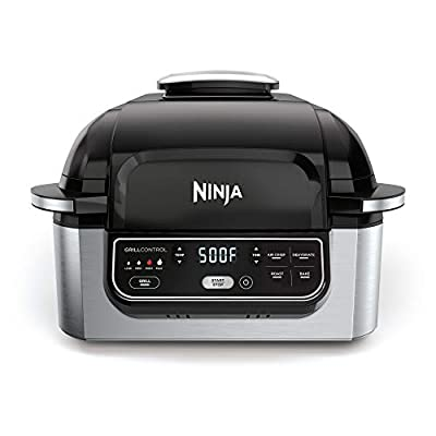 "Ninja Foodi 5-in-1 4-qt. Air Fryer, Roast, Bake, Dehydrate Indoor Electric Grill (AG301), 10"" x 10"", Black and Silver"