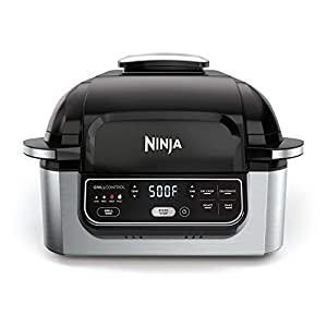 Ninja Foodi 5-in-1 4-Qt. Air Fryer, Roast, Bake, Dehydrate Indoor Electric Grill (AG301), 10″ x 10″, Black and Silver
