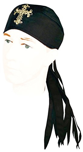 Rag Skull Cap Bandana Headwrap (Doo Rag Skull Cap Bandana Headwrap Do Du Rag LONG TAILS Made in the USA (Black Cross Christian with SWEATBAND))