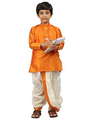 Dhoti Kurta (Kids-Boys-Kurta-Dhoti-Set-Indian-Ethnic-Cultural-Fancy-Party-Dress-Cotton Orange)